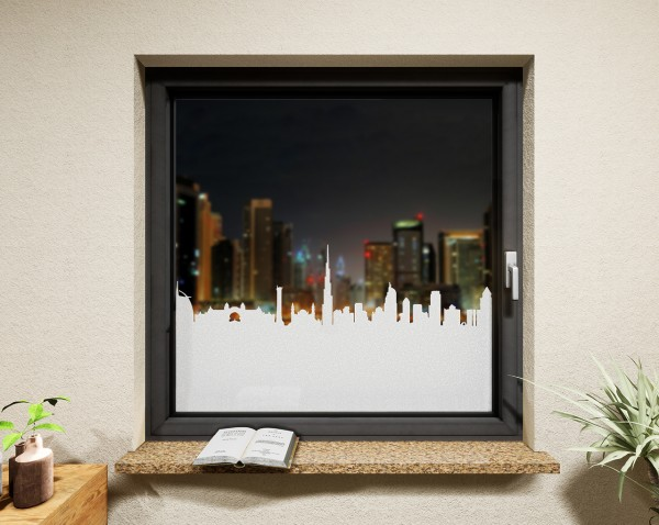 Glasdekor Skyline Dubai weiß matt