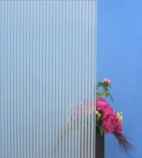 Dekorfolie, vertikale transparent-weiße Streifen, Breite 10 mm