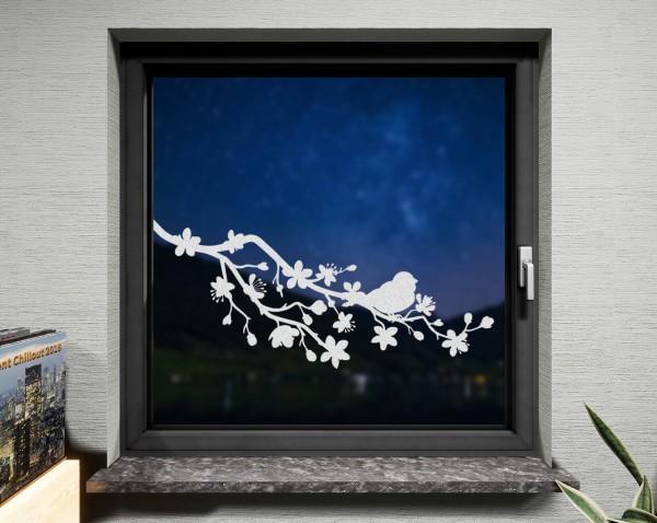 Fenstertattoo Kirschblüten weiß matt