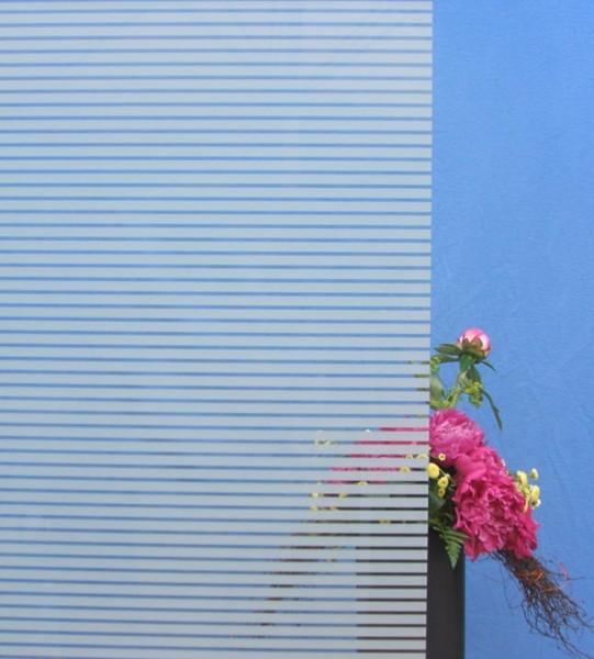 Dekorfolie, horizontale transparent-weiße Streifen, Breite 10 mm