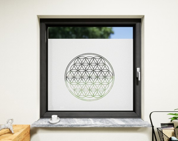 Glasdekor für Fenster, Lebensblume