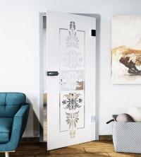 Glasdekor für Türen, historisches Blumenmuster