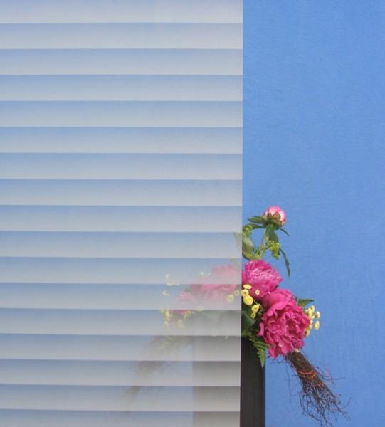 Dekorfolie, horizontale weiße schattierte Streifen