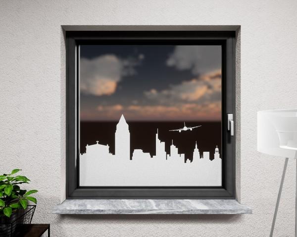 Glasdekor für Fenster, Skyline Frankfurt