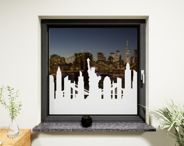 Glasdekor für Fenster, Skyline New York
