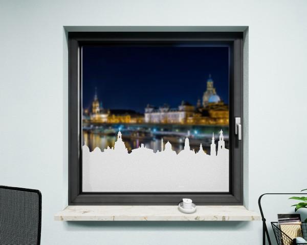 Glasdekor für Fenster, Skyline Dresden