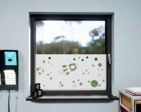Glasdekor für Fenster, Weltall