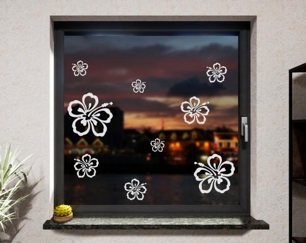 Fenstertattoo Blumen weiß matt