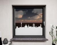 Glasdekor für Fenster, Skyline Dortmund
