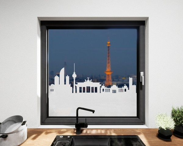 Glasdekor für Fenster, Skyline Berlin