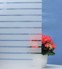 Dekorfolie, horizontale transparent-weiße Streifen, Breite 45 mm