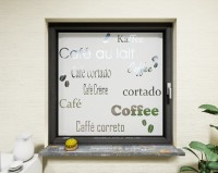 Glasdekor für Fenster, Schriftzug Kaffee