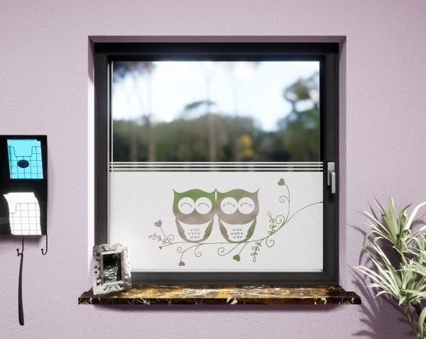 Glasdekor für Fenster, Eulenpaar
