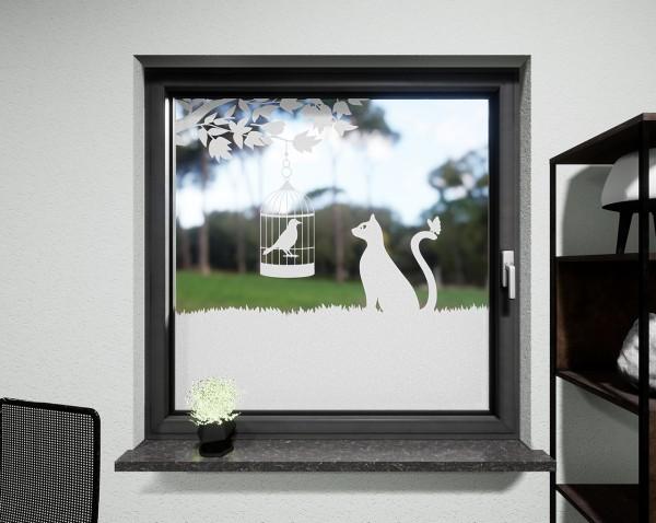 Glasdekor für Fenster, Vogelkäfig