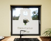 Glasdekor für Fenster, Kaffeebär