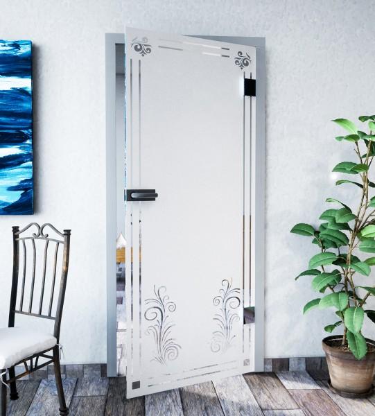 Glasdekor für Türen, Ornamentrahmen mit Gräsermotiv