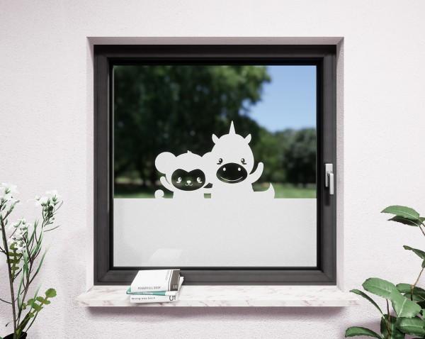 Glasdekor für Fenster, Affe und Einhorn