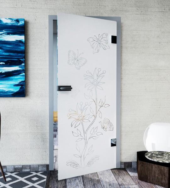 Glasdekor für Türen, Schmetterlinge im Garten