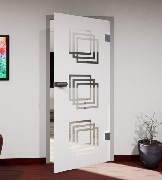 Glasdekor für Türen, überlappende Quadrate