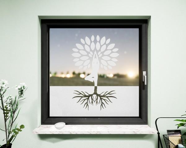 Glasdekor für Fenster, Yogabaum