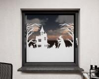 Glasdekor für Fenster, Hexenhaus