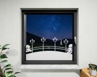 Glasdekor Flussbrücke weiß matt