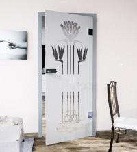 Glasdekor für Türen, Jugendstilblume