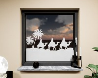 Glasdekor für Fenster, Karawane Kamele