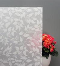 Sichtschutzfolie weiße Blätter auf weißem Grund