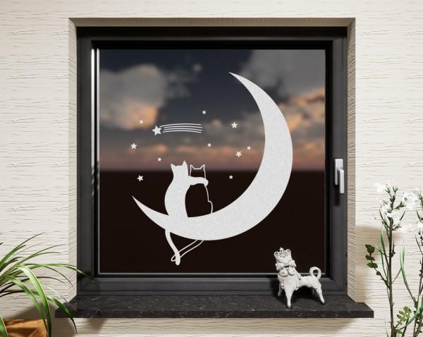Fenstertattoo Mondkatzen weiß matt