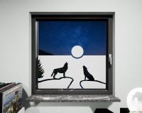 Glasdekor Wölfe weiß matt