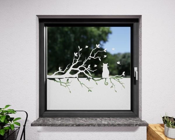Glasdekor für Fenster, Katze