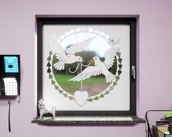 Glasdekor für Fenster, Tauben