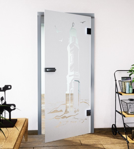 Glasdekor für Türen, Leuchtfeuer am Meer
