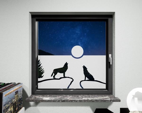 Glasdekor für Fenster, Wölfe