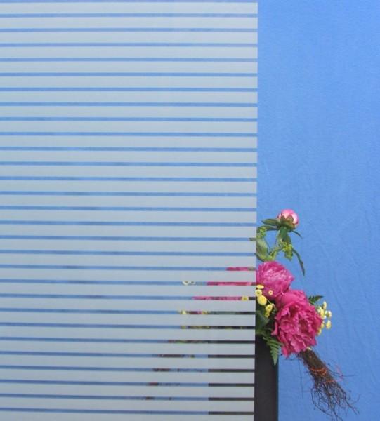 Dekorfolie, horizontale transparent-weiße Streifen, Breite 18 mm