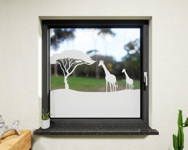 Glasdekor für Fenster, Savanne