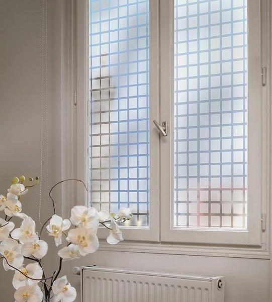 Dekorfolie, transparent-weiße Quadrate 44 mm
